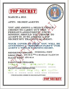 spy mission secret agent birthday party invitation from